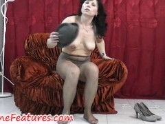 Pantyhose good-luck piece fun with real milf in backstage