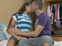 Handsome teen with correct tits pain in the neck fucked