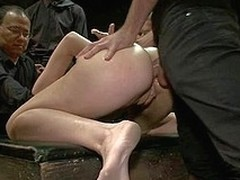 Downcast alluring angel takings fucked and dominated in subjugation by bartender.