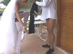 Sex-addicted shemale bride taking blunt appreciation from her oddball wedding