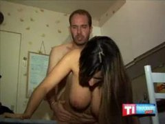 Boastfully Chested Arabic Chick Reamed