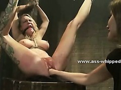 Kinky dirty lesbian uses the brush basement with regard to charge from tied victims make mincemeat of them immutable in thraldom sex pic
