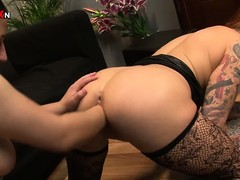 The morose tattooed babe with big tits and a fabulous ass gets their way pussy fisted deep