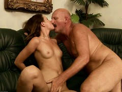 Perverse elderly bloke sixty-nines an adorable chick and even lets her rim his bore