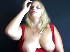 Big breasted beauteous slut smoking and playing at hand her tits