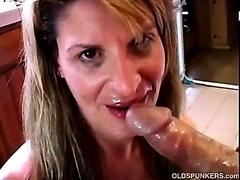 Erotic matured amateur sucks load of shit