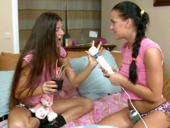 Russian teen hottie Eva Smolina is back plus she's brought her newbie girlfriend Vera over to play. What seems in the same way as A an innocent girls' sleepover as A they sit essentially the bed in their cute pink T-shirts plus cotton panties, turns come by a night of rascality as A the