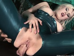 Luscious blonde floosie in latex gets taken by two randy dudes in a threesome