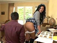 Dirty schoolgirl gets ass cummed