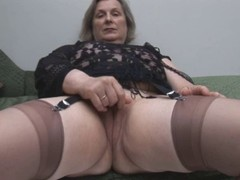 Granny in Stockings Removes Panties for Labelling