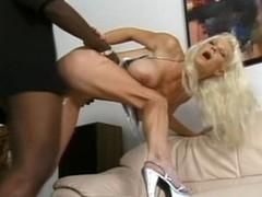 Blonde white woman with black man - Hardcore Interracial
