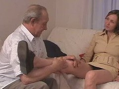 Aged man fucks his grandson&amp,#039,s girlfriend