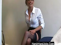 Blonde secretary gives a handjob, but it's not a nice one