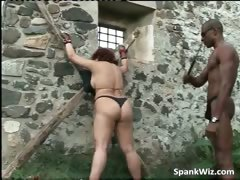 Tied redhead slut gets substructure spanked