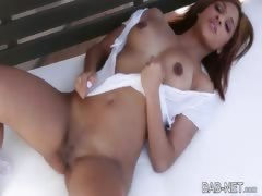 Exotic babe gives an awesome striptease in fine fettle finger pleases her pussy