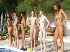 Six naked girls away unfamiliar the pool unfamiliar poland