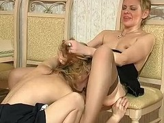 Nasty French maid caught with a sex toy giving good oral job to older lady