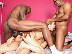 Slutty Shani Reid is gang banged by three large black schlongs.