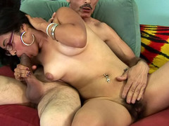 Sex-crazed buxom chick gets her hawt hirsute cum-hole drilled by a dick!