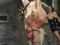 Blonde Gets a Wet Pussy round Lesbian BDSM Session wide Toying and Torture