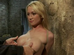 Luscious coupled with honry blondie gets twitched coupled with left near bondage