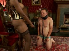 Nyomi Banxxx the ebony mistress tortures guy's balls with the addition of dick