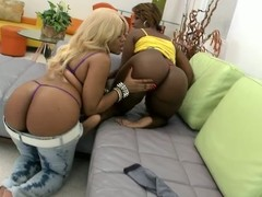 Two big-assed black hussies share a hard flannel with regard to FFM scene