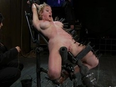Darling gets pinched and fucked at the end of one's tether a carnal knowledge machine in BDSM vid