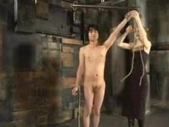 Scott Lee enjoys uncultivated punished by wicked fair-haired ma in a basement