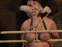 Hog tied Skylar Price gets camouflaged with wax plus toyed