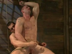 Constrained up and blindfolded Phenix Saint gets his bore defeated by a man