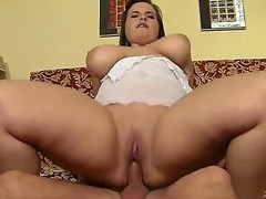 Lovely, plump gal Maggie B moans while receiving her lovers beamy boner down her bald little muff