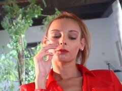 Naff slut smoking to the fullest luring huge flannel