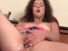 Curly whisker sweetie-pie turns on the brush pink pussy