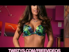 Watch the beautiful Eva Lovia tease & permeate her consummate twat