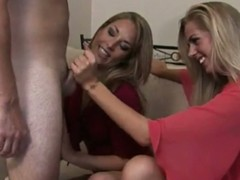 Two blonde babes giving him surprising blowjob