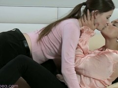 Passionate lesbian kissing extremity sexy Lily together with Victoria B