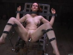 Enticing sweetheart's sweet nipples gets painful torturing