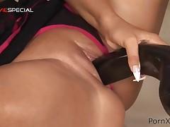 Slut climaxes as A that babe masturbates with large sex-toy