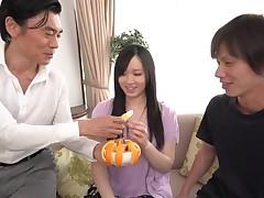 Earthy dudes fuck sweet Japanese sweetheart's fervently