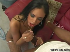Black chick feels enormous large black dick in mouth with an increment of takings
